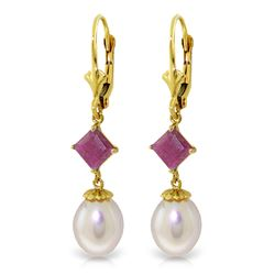 Genuine 9.5 ctw Pearl & Ruby Earrings Jewelry 14KT Yellow Gold - REF-29R7P