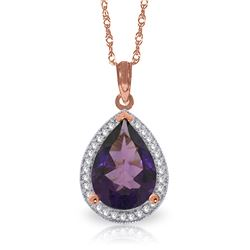 Genuine 3.41 ctw Amethyst & Diamond Necklace Jewelry 14KT Rose Gold - REF-69K6V