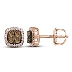 0.50 CTWCognac-brown Color Diamond Square Cluster Earrings 10KT Rose Gold - REF-44F9N
