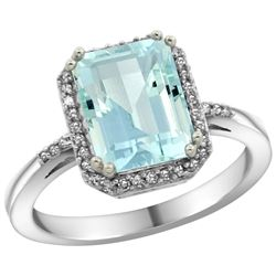 Natural 2.63 ctw Aquamarine & Diamond Engagement Ring 10K White Gold - REF-45F9N