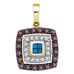 0.40 CTW Blue Cognac-brown Color Diamond Square Pendant 10KT Yellow Gold - REF-26Y9X