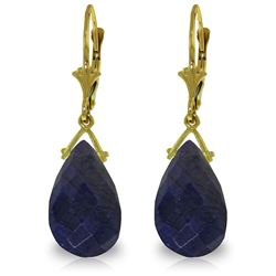 Genuine 15.6 ctw Sapphire Earrings Jewelry 14KT Yellow Gold - REF-96Z2N