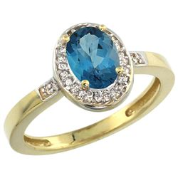 Natural 1.08 ctw London-blue-topaz & Diamond Engagement Ring 14K Yellow Gold - REF-31X6A