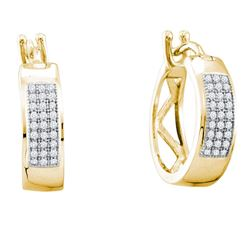 0.16 CTW Diamond Hoop Earrings 10KT Yellow Gold - REF-12H2M
