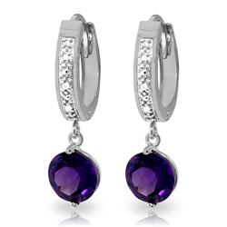 Genuine 2.63 ctw Amethyst & Diamond Earrings Jewelry 14KT White Gold - REF-54R9P