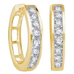 0.50 CTWDiamond Hoop Earrings 14KT Yellow Gold - REF-56N2F