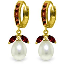 Genuine 10.30 ctw Garnet & Pearl Earrings Jewelry 14KT Yellow Gold - REF-56H7X