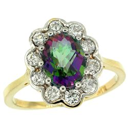 Natural 2.34 ctw Mystic-topaz & Diamond Engagement Ring 14K Yellow Gold - REF-81F4N