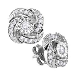 0.32 CTW Diamond Pinwheel Stud Earrings 10KT White Gold - REF-38Y9X