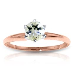 Genuine 0.65 ctw Aquamarine Ring Jewelry 14KT Rose Gold - REF-28W8Y