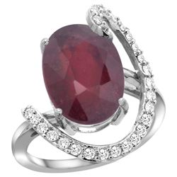 Natural 6.41 ctw Ruby & Diamond Engagement Ring 14K White Gold - REF-99A2V