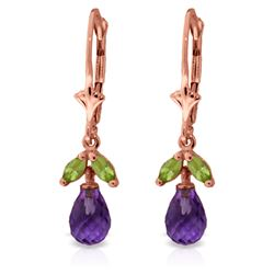 Genuine 3.4 ctw Amethyst & Peridot Earrings Jewelry 14KT Rose Gold - REF-26V6W