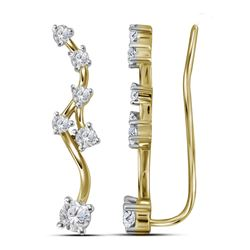 0.73 CTW Diamond Climber Earrings 10KT Yellow Gold - REF-59M9H