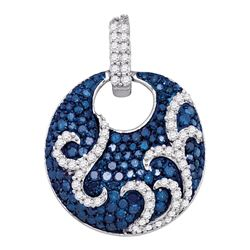 0.55 CTW Blue Color Diamond Curl Circle Pendant 10KT White Gold - REF-49N5F