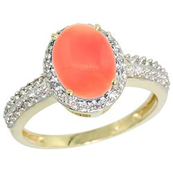 Natural 2.15 ctw Coral & Diamond Engagement Ring 14K Yellow Gold - REF-39X6A