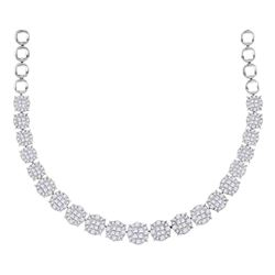 9.97 CTW Princess Diamond Soleil Cluster Luxury Necklace 14KT White Gold - REF-1049W8K