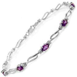 Genuine 2.96 ctw Amethyst & Diamond Bracelet Jewelry 14KT White Gold - REF-82R6P