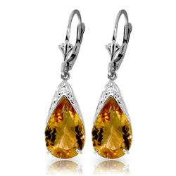 Genuine 10 ctw Citrine Earrings Jewelry 14KT White Gold - REF-55A5K