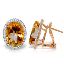 Genuine 9.76 ctw Citrine & Diamond Earrings Jewelry 14KT Rose Gold - REF-127Z8N
