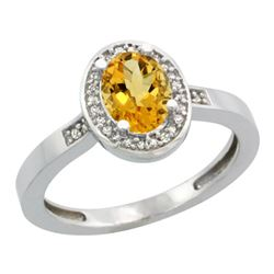 Natural 1.08 ctw Citrine & Diamond Engagement Ring 10K White Gold - REF-25Y5X