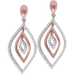 0.40 CTW Diamond Nested Oval Dangle Earrings 10KT Rose Gold - REF-41X9Y