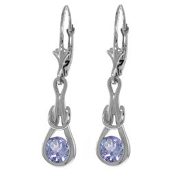 Genuine 1.30 ctw Tanzanite Earrings Jewelry 14KT White Gold - REF-61V3W