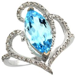 Natural 3.33 ctw Swiss-blue-topaz & Diamond Engagement Ring 14K White Gold - REF-77K5R