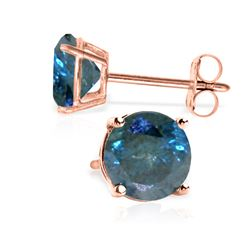 Genuine 1.0 ctw Blue Diamond Earrings Jewelry 14KT Rose Gold - REF-202F2Z