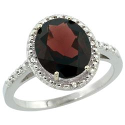 Natural 2.42 ctw Garnet & Diamond Engagement Ring 14K White Gold - REF-37G6M