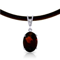 Genuine 7.56 ctw Garnet & Diamond Necklace Jewelry 14KT White Gold - REF-53P8H