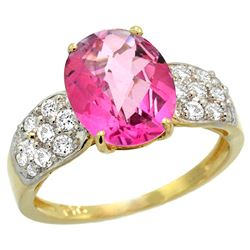 Natural 2.75 ctw pink-topaz & Diamond Engagement Ring 14K Yellow Gold - REF-58M4H