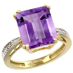 Natural 5.42 ctw amethyst & Diamond Engagement Ring 14K Yellow Gold - REF-61G9M