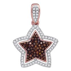 0.28 CTW Red Color Diamond Star Pendant 10KT Rose Gold - REF-30K2W