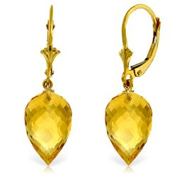 Genuine 19 ctw Citrine Earrings Jewelry 14KT Yellow Gold - REF-35P9H