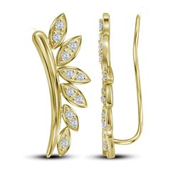 0.25 CTW Diamond Floral Earrings 10KT Yellow Gold - REF-30Y2X