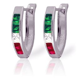Genuine 1.28 ctw Emerald, White Topaz & Ruby Earrings Jewelry 14KT White Gold - REF-26N7R