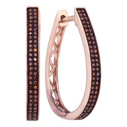 0.33 CTW Red Color Diamond Hoop Earrings 10KT Rose Gold - REF-41F9N