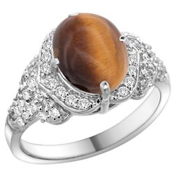 Natural 2.82 ctw tiger-eye & Diamond Engagement Ring 14K White Gold - REF-100R6Z