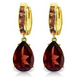 Genuine 13.2 ctw Garnet Earrings Jewelry 14KT Yellow Gold - REF-79X7M