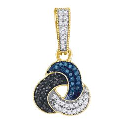 0.30 CTW Blue Black Color Diamond Trinity Cluster Pendant 10KT Yellow Gold - REF-19H4M