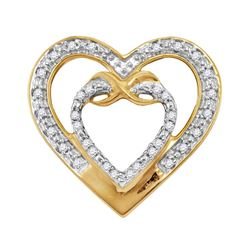 0.10 CTW Diamond Nested Double Heart Pendant 10KT Yellow Gold - REF-12H2M