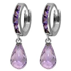 Genuine 5.35 ctw Amethyst Earrings Jewelry 14KT White Gold - REF-43T6A