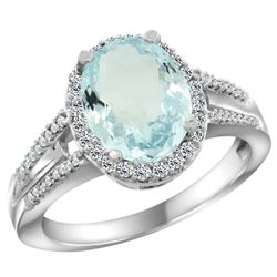 Natural 3.42 ctw aquamarine & Diamond Engagement Ring 10K White Gold - REF-61W3K