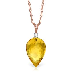 Genuine 9.55 ctw Citrine & Diamond Necklace Jewelry 14KT Rose Gold - REF-25Y3F