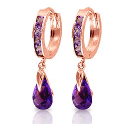 Genuine 3.3 ctw Amethyst Earrings Jewelry 14KT Rose Gold - REF-50Y6F