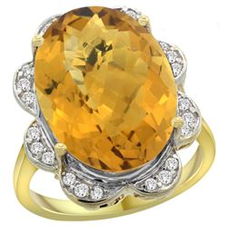 Natural 13.83 ctw quartz & Diamond Engagement Ring 14K Yellow Gold - REF-117R6Z