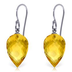 Genuine 19 ctw Citrine Earrings Jewelry 14KT White Gold - REF-28Z4N
