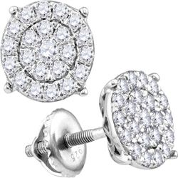 2.05 CTW Diamond Cluster Stud Earrings 10KT White Gold - REF-134W9K