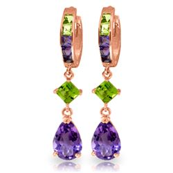 Genuine 5.38 ctw Peridot & Amethyst Earrings Jewelry 14KT Rose Gold - REF-62A7K
