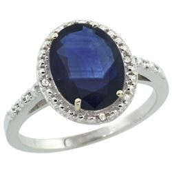 Natural 2.42 ctw Blue-sapphire & Diamond Engagement Ring 14K White Gold - REF-95W3K
